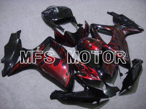Suzuki GSXR600 GSXR750 2008-2010 Injection ABS Fairing - Flame - Black Red - MFS5047