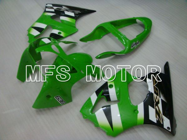 Kawasaki NINJA ZX6R 2000-2002 Injection ABS Fairing - Factory Style - Black Green White - MFS3634