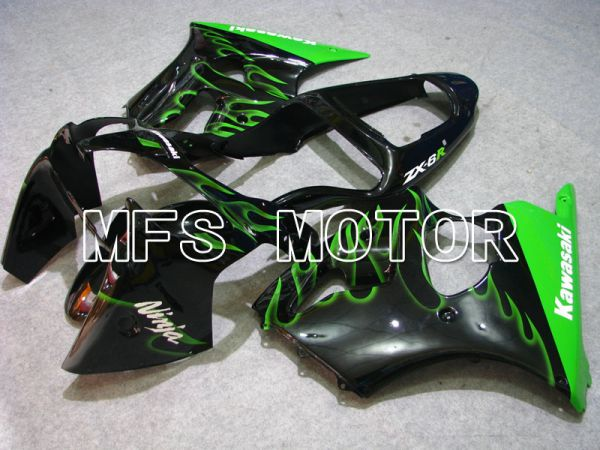 Kawasaki NINJA ZX6R 2000-2002 Injection ABS Fairing - Flame - Black Green - MFS3664