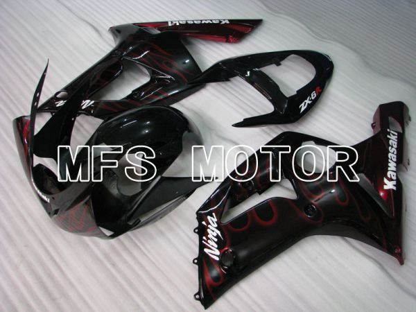 Kawasaki NINJA ZX6R 2003-2004 Injection ABS Fairing - Flame - Black Red - MFS3708