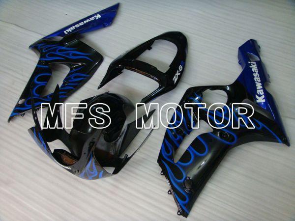 Kawasaki NINJA ZX6R 2003-2004 Injection ABS Fairing - Flame - Black Blue - MFS3710