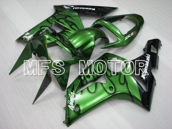 Kawasaki NINJA ZX6R 2003-2004 Injection ABS Fairing - Flame - Black Green - MFS3725
