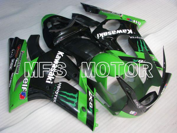Kawasaki NINJA ZX6R 2003-2004 Injection ABS Fairing - Monster - Black Green - MFS3735
