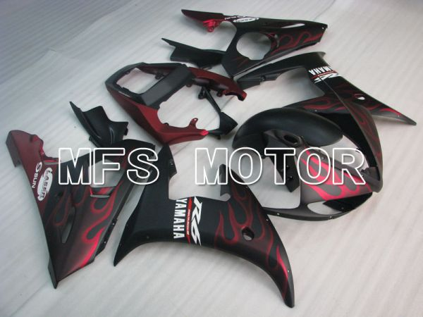 Yamaha YZF-R6 2005 Injection ABS Fairing - Flame - Red Black Matte - MFS3737