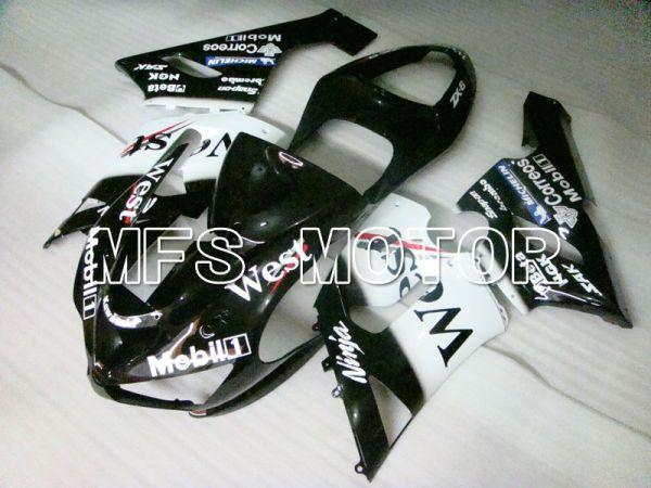 Kawasaki NINJA ZX6R 2005-2006 Injection ABS Fairing - West - Black White - MFS3814