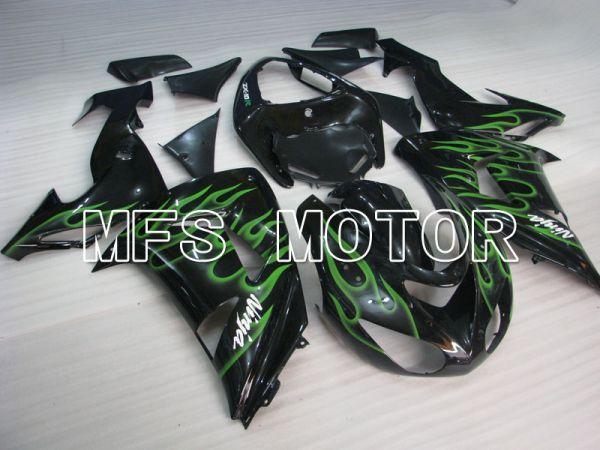Kawasaki NINJA ZX10R 2006-2007 Injection ABS Fairing - Flame - Black Green - MFS4002