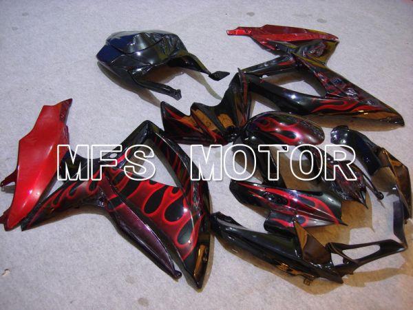 Suzuki GSXR600 GSXR750 2008-2010 Injection ABS Fairing - Flame - Black Red - MFS5049