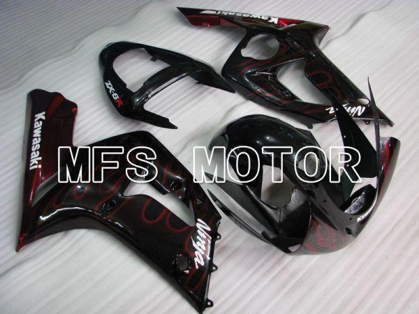 Kawasaki NINJA ZX6R 2003-2004 Injection ABS Fairing - Flame - Black Red - MFS5616