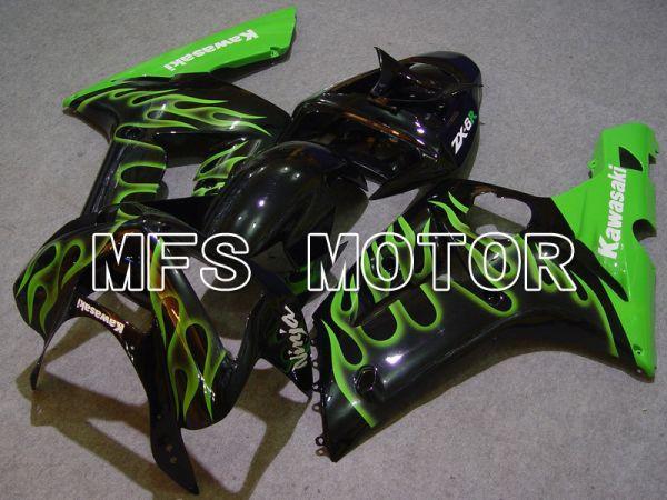 Kawasaki NINJA ZX6R 2003-2004 Injection ABS Fairing - Flame - Black Green - MFS5617
