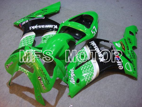 Kawasaki NINJA ZX6R 2003-2004 Injection ABS Fairing - Factory Style - Black Green - MFS5634