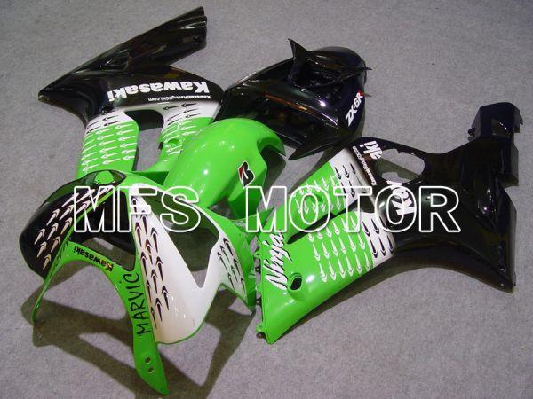 Kawasaki NINJA ZX6R 2003-2004 Injection ABS Fairing - Factory Style - Black Green - MFS5635