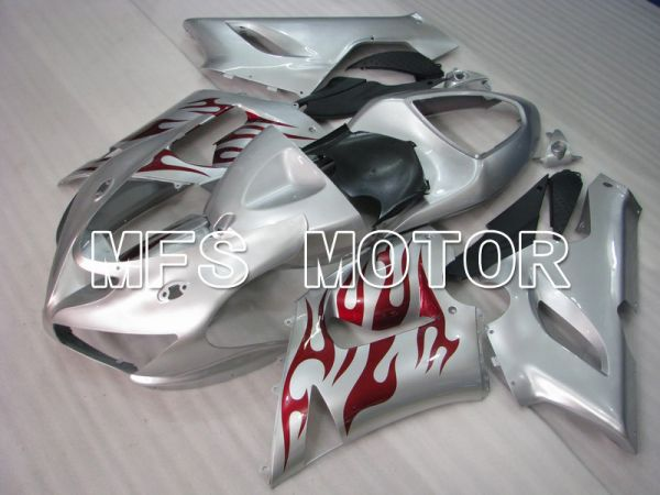 Kawasaki NINJA ZX6R 2005-2006 Injection ABS Fairing - Flame - Silver Red - MFS5695
