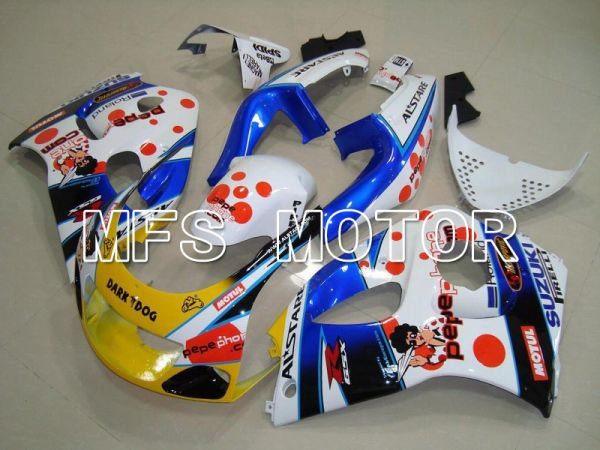 Suzuki GSXR600 1997-2000 ABS Fairing - Dark Dog - Blue White Yellow - MFS5214