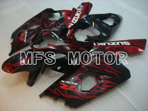 Suzuki GSXR600 GSXR750 2004-2005 Injection ABS Fairing - Flame - Black Red - MFS2237