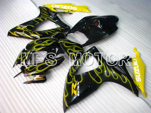 Suzuki GSXR600 GSXR750 2006-2007 Injection ABS Fairing - Flame - Black Yellow - MFS2341