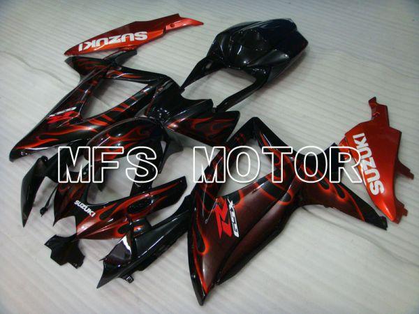 Suzuki GSXR600 GSXR750 2008-2010 Injection ABS Fairing - Flame - Black Red - MFS2442