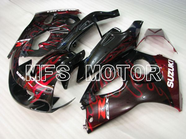 Suzuki GSXR600 1997-2000 ABS Fairing - Flame - Black Red - MFS2563