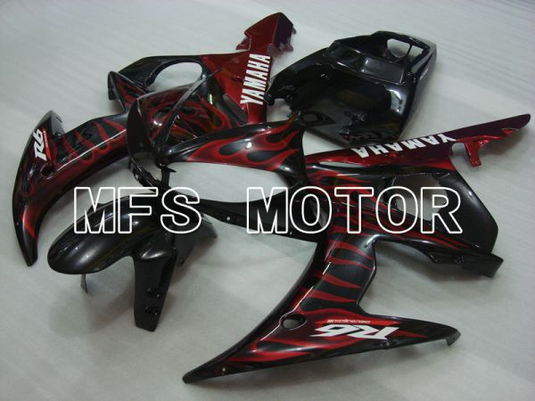 Yamaha YZF-R6 2003-2004 Injection ABS Fairing - Flame - Red wine color Black - MFS3484