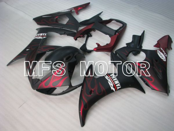 Yamaha YZF-R6 2003-2004 Injection ABS Fairing - Flame - Matte Black Red wine color - MFS3611