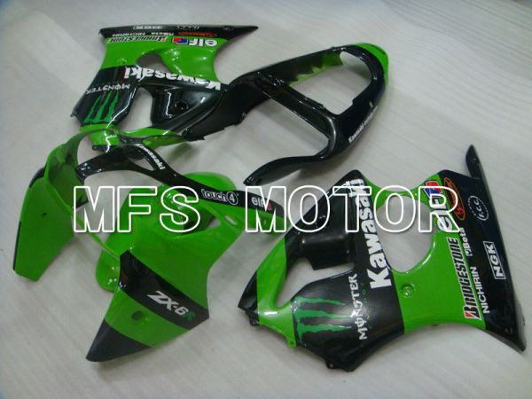Kawasaki NINJA ZX6R 2000-2002 Injection ABS Fairing - Monster - Black Green - MFS3688
