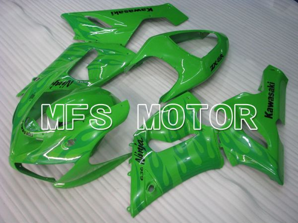 Kawasaki NINJA ZX6R 2005-2006 Injection ABS Fairing - Flame - Green - MFS3772