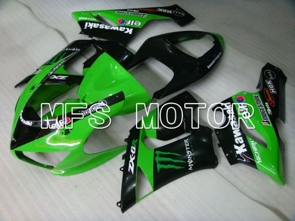 Kawasaki NINJA ZX6R 2005-2006 Injection ABS Fairing - Monster - Black Green - MFS3777