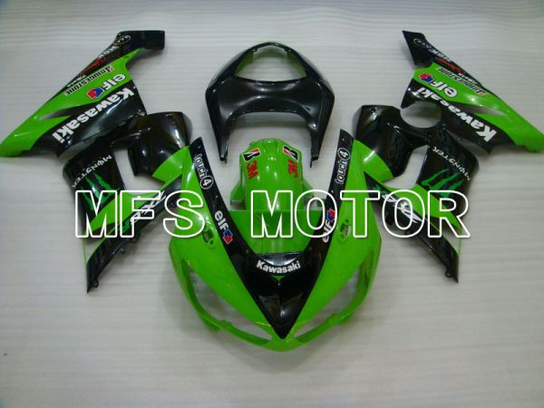 Kawasaki NINJA ZX6R 2005-2006 Injection ABS Fairing - Monster - Black Green - MFS3780
