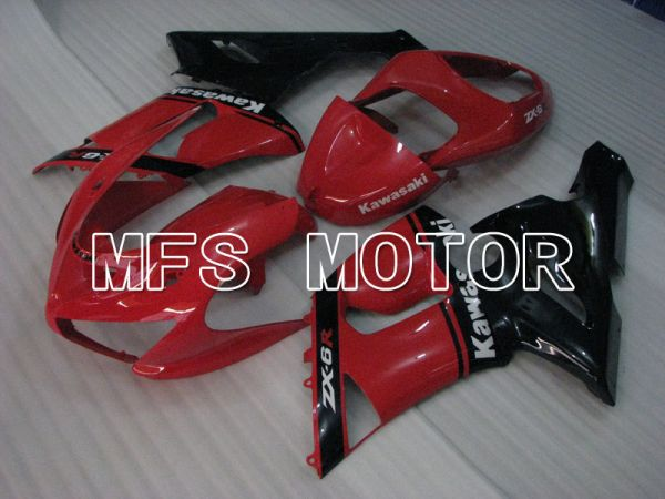 Kawasaki NINJA ZX6R 2005-2006 Injection ABS Fairing - Factory Style - Black Red - MFS3801