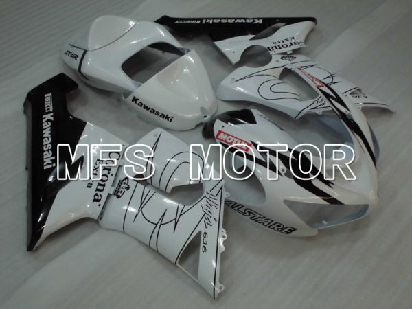 Kawasaki NINJA ZX6R 2005-2006 Injection ABS Fairing - Corona - Black White - MFS3802