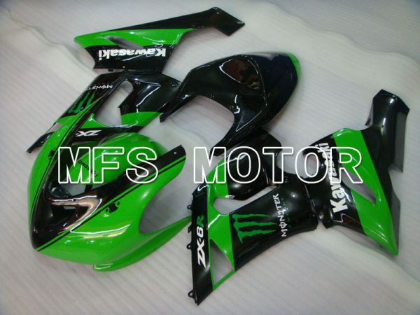 Kawasaki NINJA ZX6R 2005-2006 Injection ABS Fairing - Monster - Black Green - MFS3804