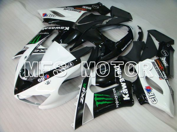 Kawasaki NINJA ZX6R 2005-2006 Injection ABS Fairing - Monster - Black White - MFS3808