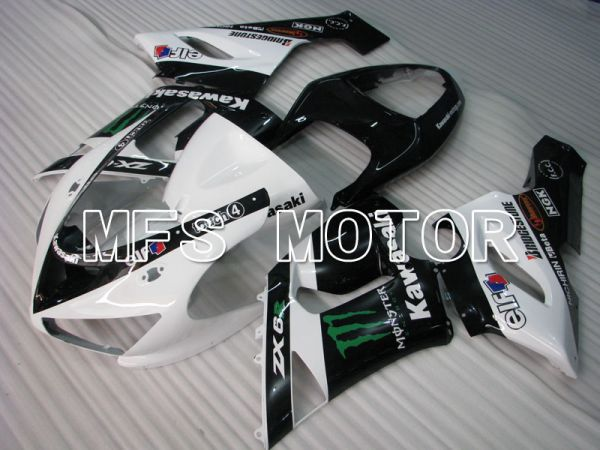 Kawasaki NINJA ZX6R 2005-2006 Injection ABS Fairing - Monster - Black White - MFS3811