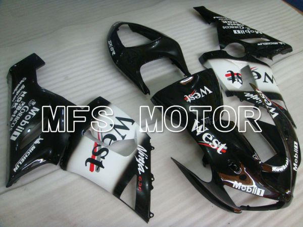 Kawasaki NINJA ZX6R 2005-2006 Injection ABS Fairing - West - Black White - MFS3813