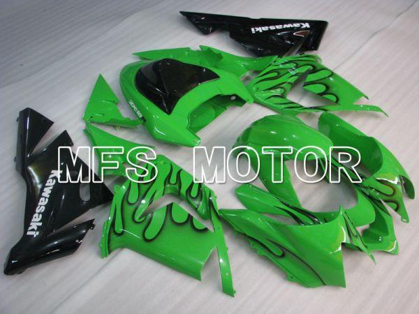 Kawasaki NINJA ZX10R 2004-2005 Injection ABS Fairing - Flame - Black Green - MFS3954