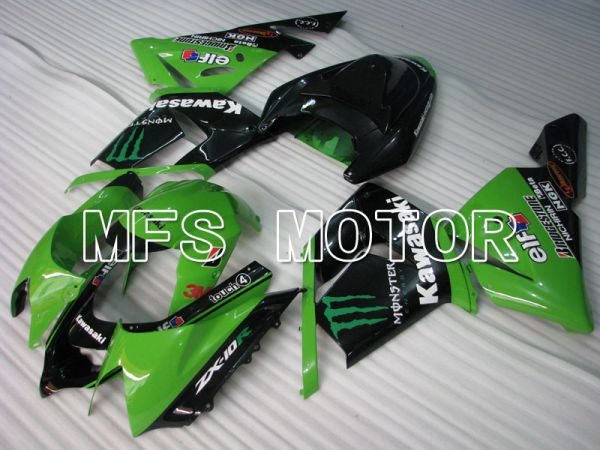 Kawasaki NINJA ZX10R 2004-2005 Injection ABS Fairing - Monster - Black Green - MFS3967