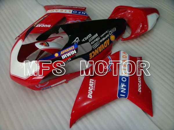 Ducati 848 / 1098 / 1198 2007-2011 Injection ABS Fairing - INFO STRADA - Red White - MFS4193