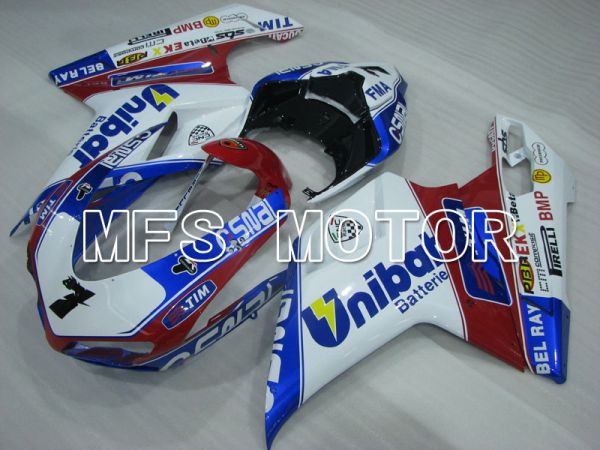 Ducati 848 / 1098 / 1198 2007-2011 Injection ABS Fairing - Unibat - Red wine color White - MFS4197