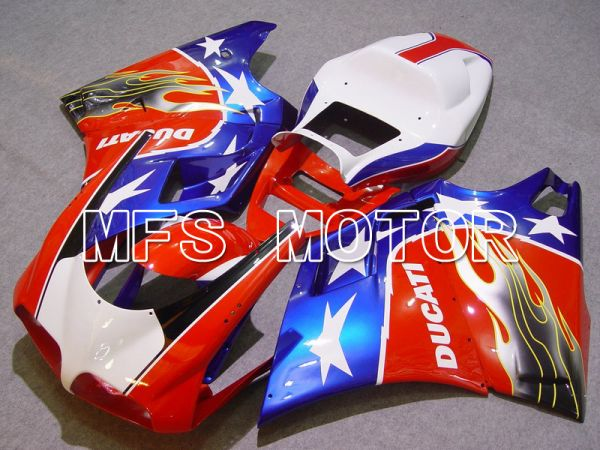 Ducati 748 / 998 / 996 1994-2002 Injection ABS Fairing - Flame - Blue Red White - MFS4560