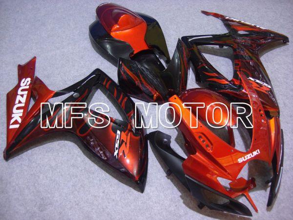 Suzuki GSXR600 GSXR750 2006-2007 Injection ABS Fairing - Flame - Black Orange - MFS4899