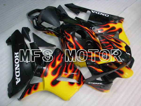 Honda CBR600RR 2003-2004 ABS Injection Fairing - Flame - Yellow Black - MFS5196