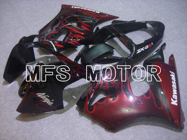 Kawasaki NINJA ZX6R 2000-2002 Injection ABS Fairing - Flame - Black Red - MFS5556