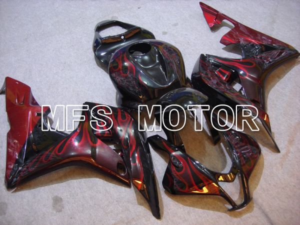 Honda CBR600RR 2007-2008 Injection ABS Fairing - Flame - Black Red - MFS5625