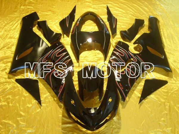 Kawasaki NINJA ZX6R 2005-2006 Injection ABS Fairing - Flame - Black Red - MFS5689