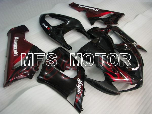 Kawasaki NINJA ZX6R 2005-2006 Injection ABS Fairing - Flame - Black Red - MFS5694