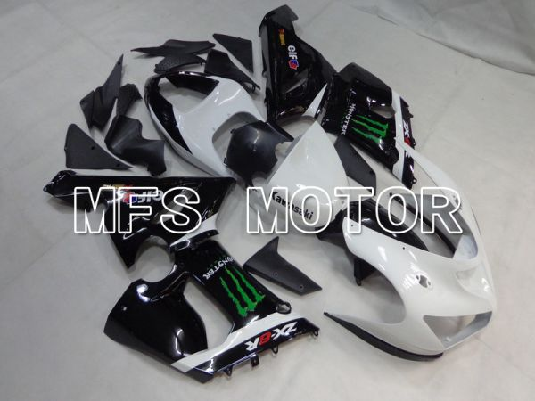 Kawasaki NINJA ZX6R 2005-2006 Injection ABS Fairing - Monster - Black White - MFS5696