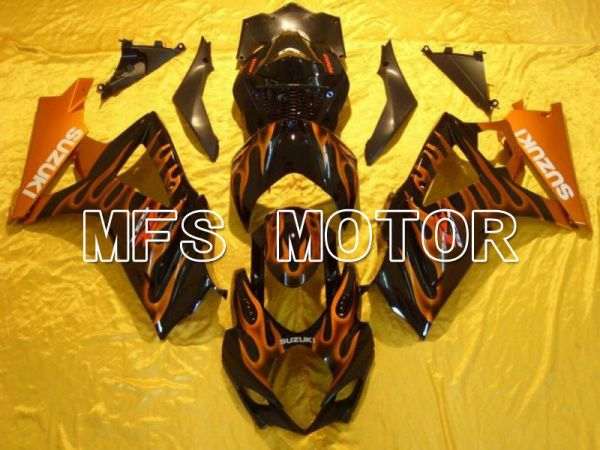 Suzuki GSXR1000 2007-2008 Injection ABS Fairing - Flame - Black Orange - MFS5697