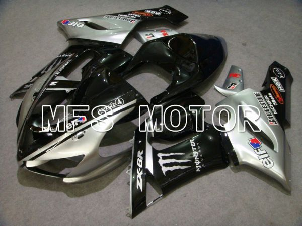 Kawasaki NINJA ZX6R 2005-2006 Injection ABS Fairing - Monster - Black Silver - MFS5706