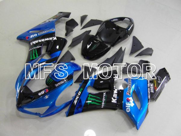 Kawasaki NINJA ZX6R 2005-2006 Injection ABS Fairing - Monster - Black Blue - MFS5709