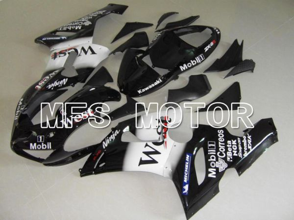 Kawasaki NINJA ZX6R 2005-2006 Injection ABS Fairing - West - Black White - MFS5716