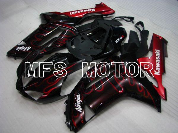 Kawasaki NINJA ZX6R 2007-2008 Injection ABS Fairing - Flame - Black Red - MFS5743